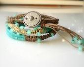 Friendship Bracelet - Ash Brown Tropical  Turquoise and Beach Sand Light Brown Wax Cotton Woven Beaded Wrap Bracelet