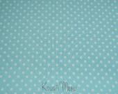 """SALE / Scrap - Polka Dots Blue x White Dots - 110cm/43""""W x 54cm/21""""L (12ko0114)"""