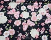 Beautiful Japanese Fabric - Sakura Butterfly Black - Half Yard (12u0406)