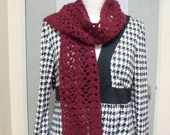 SALE Wool/Mohair Cute Stole -Wine Red-