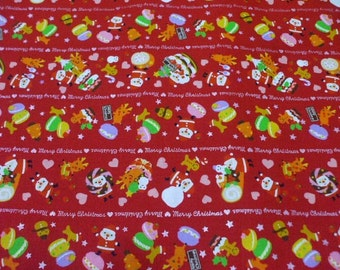 "SALE / Scrap - Christmas Sweets on Red - 110cm/43""W x 48cm/18.9""L (i0628)"