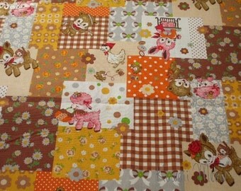 SALE - KOKKA Cotton Linen Animals Sewing Brown x Orange - Half Yard (nu1016)