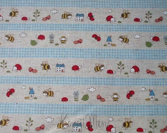 SALE - Cotton Linen Bee Ladybug Border Print Blue - Fat Quarter (ko1215)