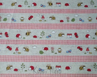 "SALE - Cotton Linen Bee Ladybug Border Print Pink - Scrap 1 Yard 43""W x 36""L (ko1215)"