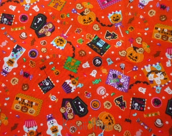 "SALE / Scrap - Sweets Halloween on Orange - 110cm/43""W x 55cm/21.6""L (i0624)"