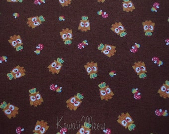 SALE - KOKKA Cute Owls Crown on  Brown - Fat Quarter (11u0717)