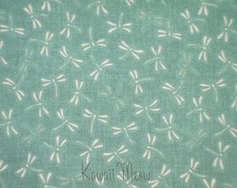Beautiful Japanese Fabric - Dragonfly on Mint - Fat Quarter (ki151221)
