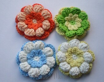 Kawaii Crochet Applique Motif Flowers Set of 4 (13)