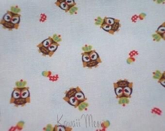 "SALE / Scrap - KOKKA Cute Owls Crown on  Off-white - 110cm/43""W x 49cm/19""L (11u0717)"