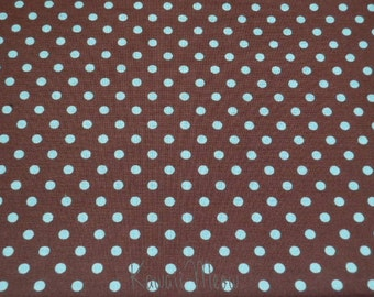 SALE - Polka Dots Brown x Mint Dots - Half Yard (12ko0212)