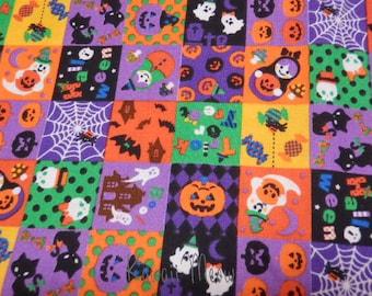 "SALE / Scrap - Halloween Patchwork on Purple - 110cm/43""W x 49cm/19.3""L (12i0615)"