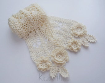 Pineapple Lace Crochet Stole Scarf - Flower Motif Off-white -