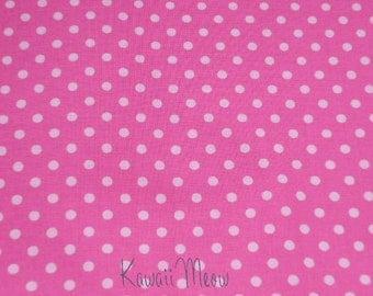 SALE - Polka Dots Pink x White Dots - Fat Quarter (sho12ko0114)