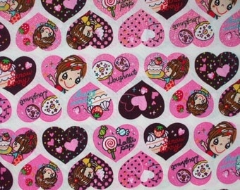 SALE -Cute Girls Heart White- Fat Quarter (ki1101)