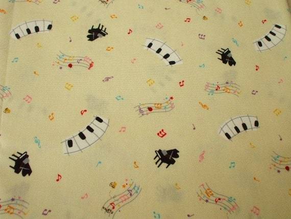 SALE - Cute Piano on Cream Yellow - 1 Yard (ta1226)
