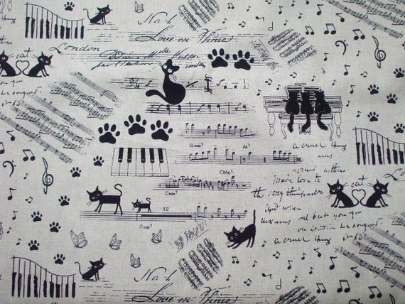 "LAST Japanese Fabric - Cute Cats Music - 1 Yard 112cm/44""W x 96cm/37.8""L (11sh1130)"