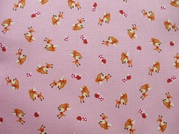 Kawaii Japanese Fabric - Cute Baby Bambi Mushroom on Pink - Half Yard (i0519)