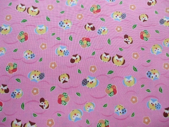 "SALE -Kawaii Owl on Pink - 1 Yard 110cm/43""W x 96cm/37.8""L (ki0226)"