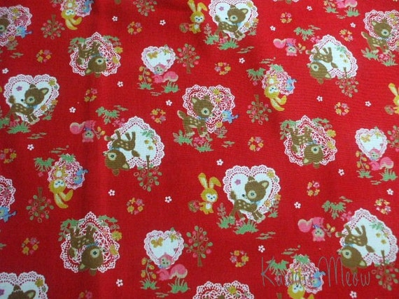 SALE - KOKKA Cotton Linen Animals Hert Doily on Red - Half Yard (ma1016)