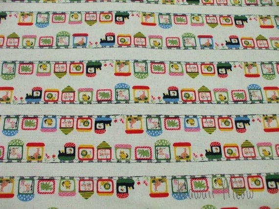Kawaii Japanese Fabric - Zoo Train Natural - Half Yard (i1129)