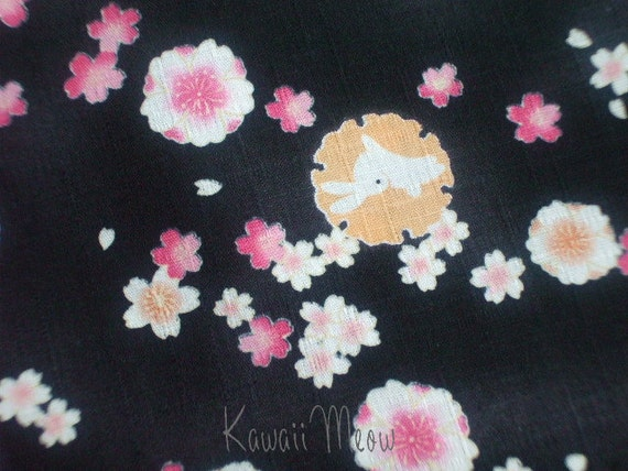 SALE / Kawaii Rabbits Sakura - Black - Half Yard (11ta0717)