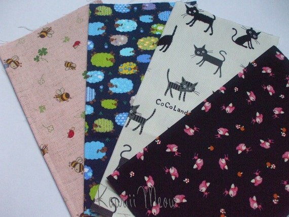 Kawaii Japanese Fabric - Scraps 4 pieces (161)