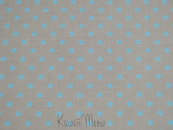SALE - Polka Dots Sand Beige x Blue Dots - Half Yard (12ko0114)