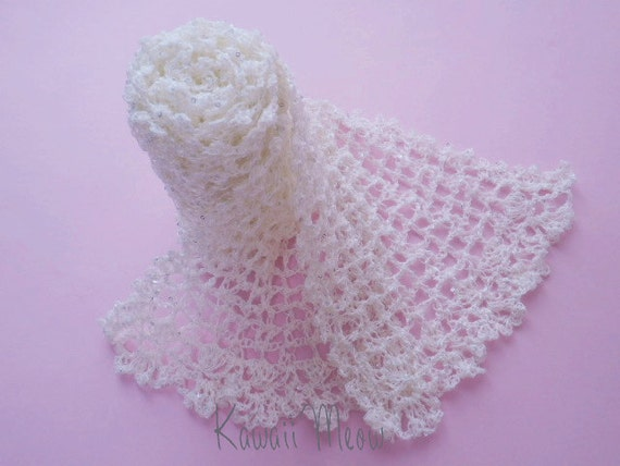 SALE Cute Stole Scarf White