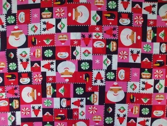 SALE Kawaii Japanese Fabric - Christmas Smile Pink x Red - Half Yard