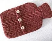 Russet hot water bottle sweater / cover - 90 per cent Wool - 10 per cent Silk
