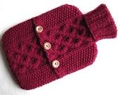 Cherry red hot water bottle sweater / cover - 100 per cent Scottish wool
