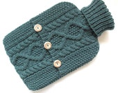 Teal hot water bottle sweater / cover -50 per cent merino wool - 50 per cent fine acrylic