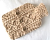 Peaches and cream hot water bottle sweater / cover - 90 per cent Wool - 10 per cent Silk-  gift - READY TO SHIP