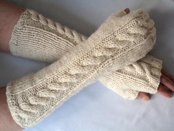 Latte fingerless gloves / wrist warmers - wool - alpaca