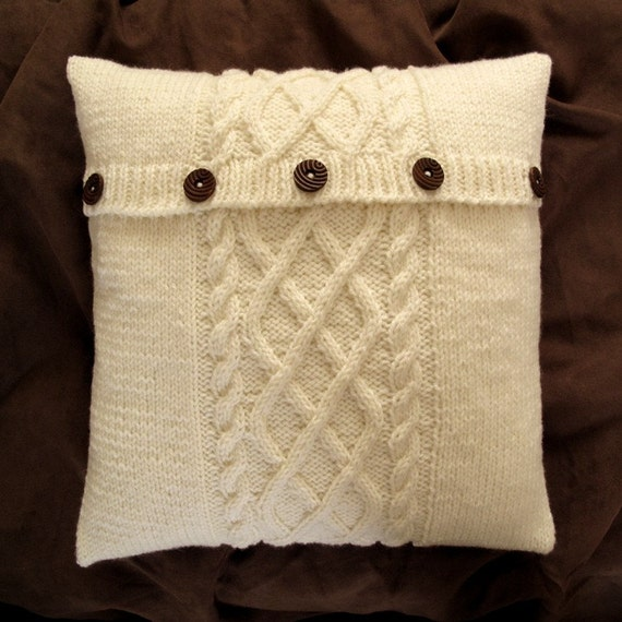 SALE - Lattice and Cable Cushion Cover - Cream
