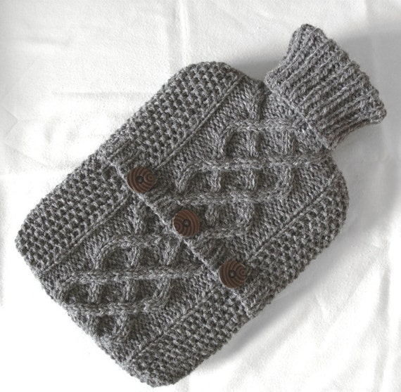 Pebble grey hot water bottle sweater / cover - 100 per cent natural undyed Scottish wool