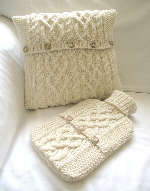 Bedroom Set - Cushion Cover and Hot Water Bottle Sweater / Cover- Cream