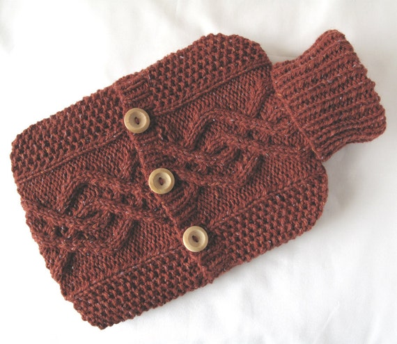 Russet hot water bottle sweater / cover - rustic cottage chic - Christmas gift - 90 per cent Wool - 10 per cent Silk - READY TO SHIP