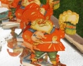 Early RARE Antique Large Double Sided Vintage Santa Paper Die Cut