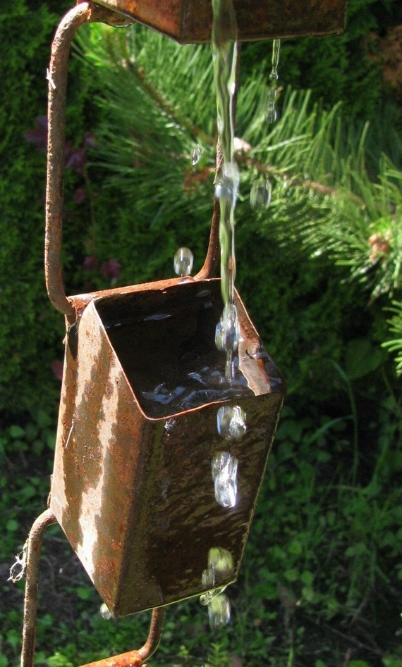 Antique Farm Chain : Six foot antique zinc farm cistern cup chain nine by