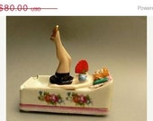 Think Spring SALE 25% OFF Ashtray PIN Up Porcelain Naughty Lady On Sofa nodder