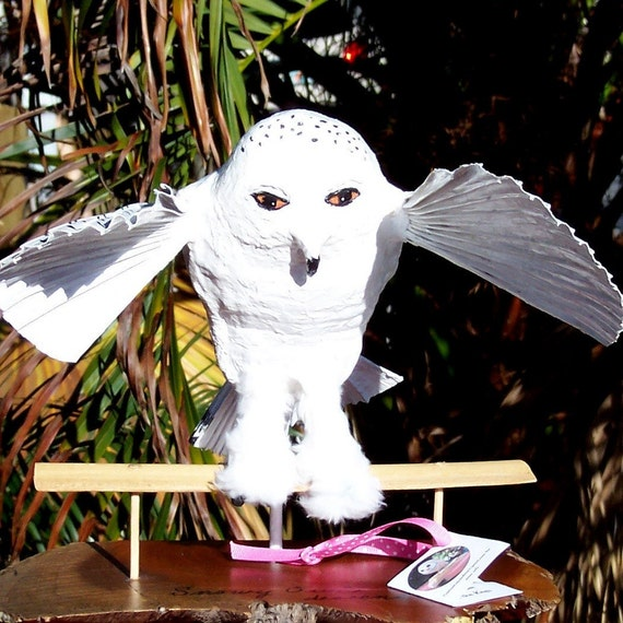 Winged Snowy Owl Descending... Coconut sculpture