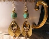 FREE SHIPPING Ancient Treasures earrings hammered metal with vintage look accents 14 KT gold filled ear wires,turquoise glass beads