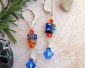 FREE SHIPPING ETSY Wild and Colorful Millefiori glass squares blue and orange earrings, sterling leverbacks
