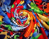 Pure Silk Scarf - Colorful Bows and Pearls -  Free shipping
