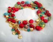 Mediterranean Red Coral  Bluish Green and Gold - Long Size/Double Strands NECKLACE