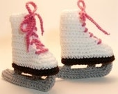 White Ice Skates Crochet Baby Booties 0-6 Months