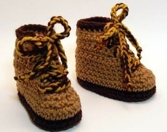 Hiking Boots Crochet Baby Booties 0-6 Months