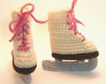 Ivory Ice Skates Crochet Baby Booties 0-6 Months