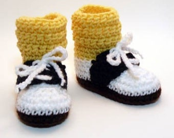Saddle Shoes with Yellow Socks Crochet Baby Booties 0-6 Months